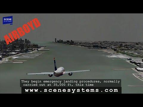 US Airways Flight 1549 HD Animation - Hudson Landing