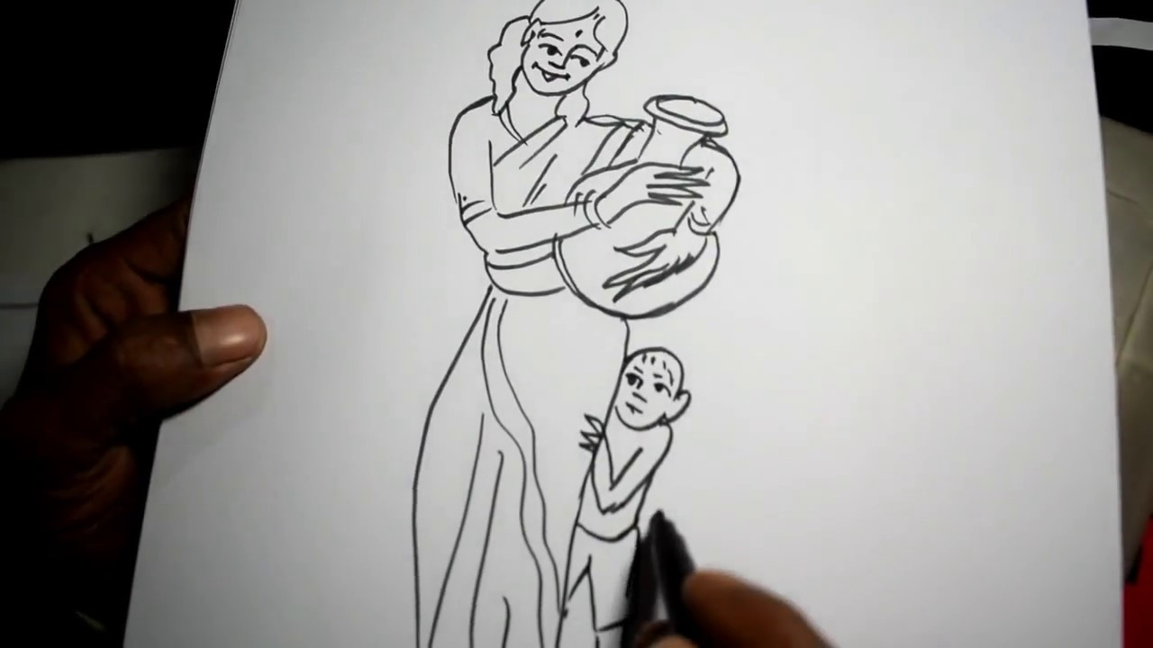 A village girl with her children pen drawing sketch art