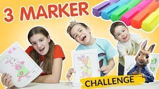 ¡3 MARKER CHALLENGE! edition DIBUJOS animados BRILLANTES.