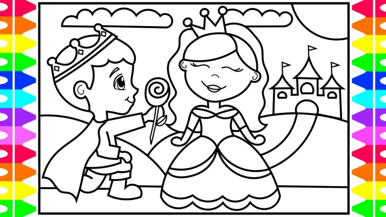 How To Draw A Princess And A Prince For Kids 👑💗👑💙 Princess