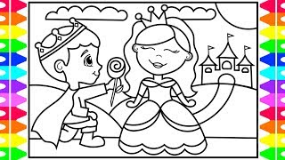 How To Draw a PRINCESS and a PRINCE for KIDS  👑💗👑💙 Princess and Prince Drawing and Coloring Book
