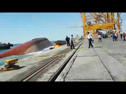 General cargo ship capsized at Banderabbas, Iran port