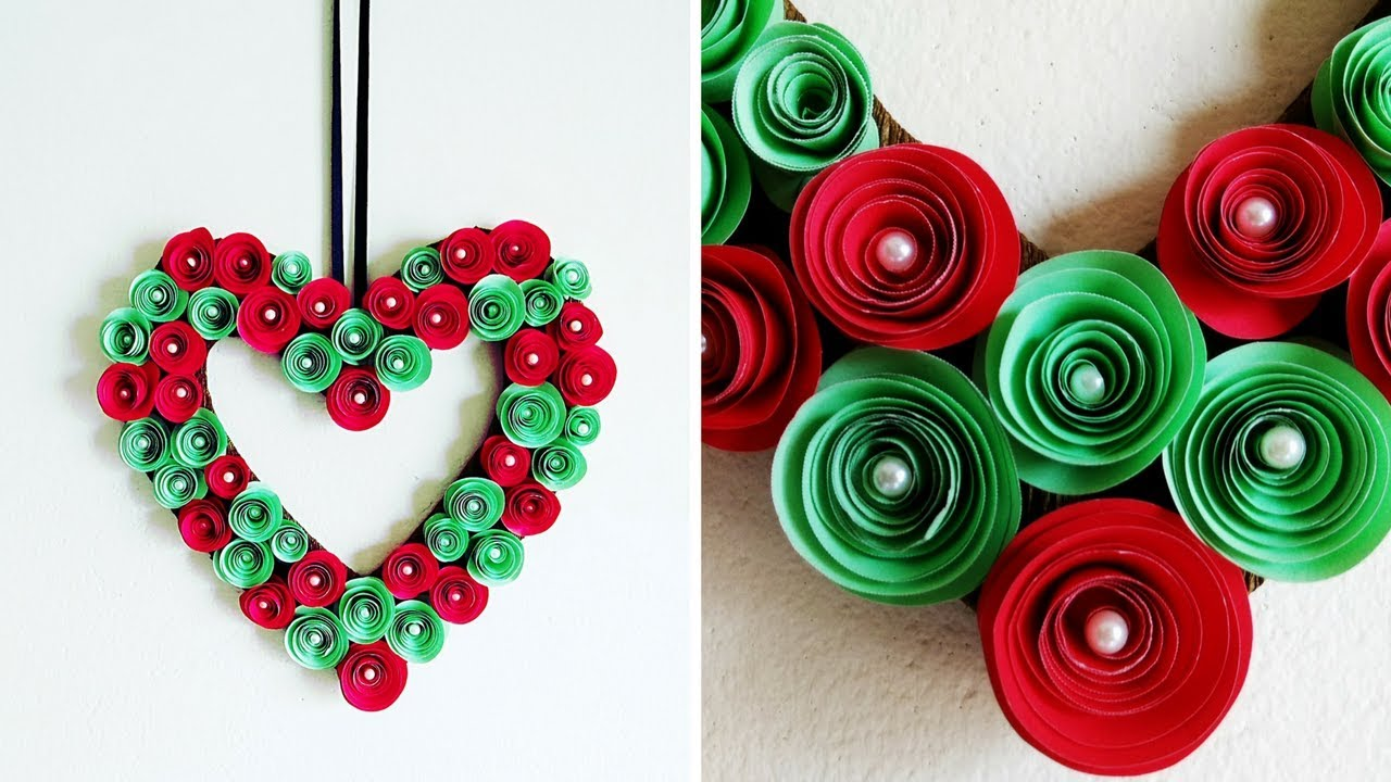 Diy Paper Flower Wreath Valentine Heart Wreath