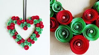 DIY : Paper Flower Wreath | Valentine Heart Wreath | Rolled Paper Rose Wall Hanging Decoration