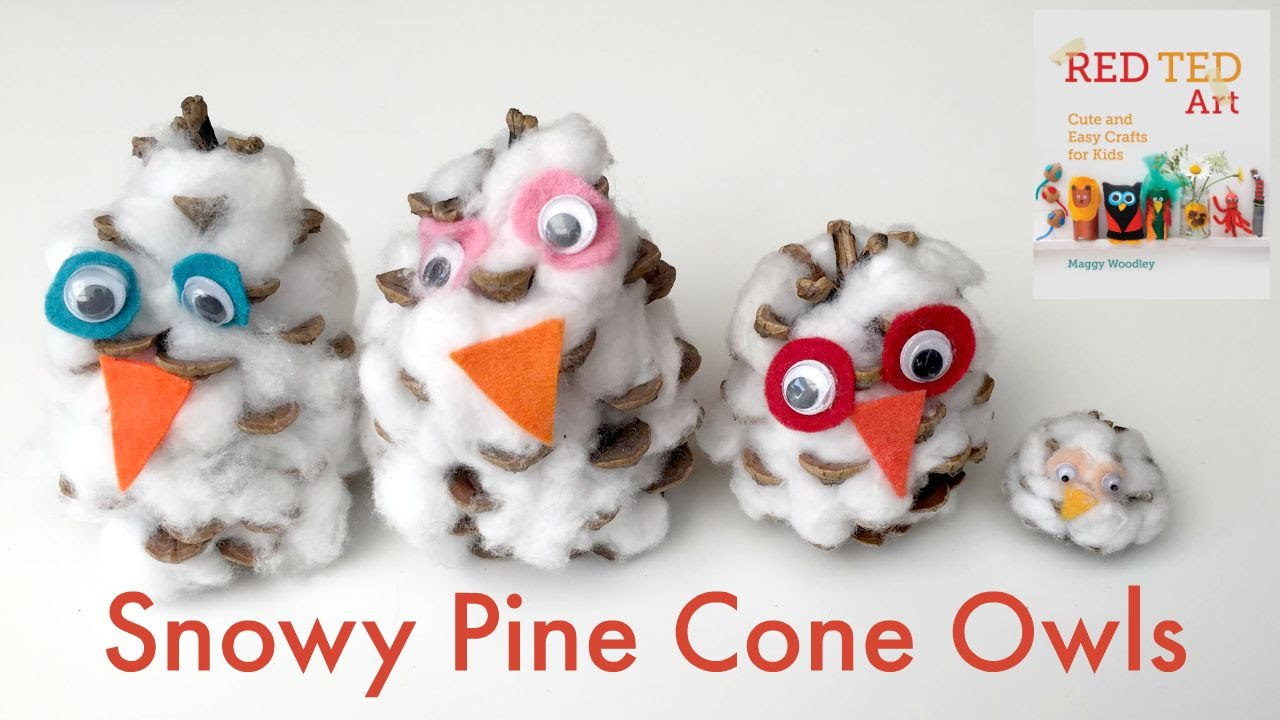 Pine Cone Crafts Snowy Owls
