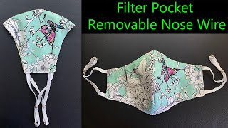 Very Easy Pattern Face Mask with Filter Pocket Nose Bridge Face Mask Sewing Tutorial Mascarilla