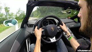 me driving the lamborghini aventador roadster in the hills