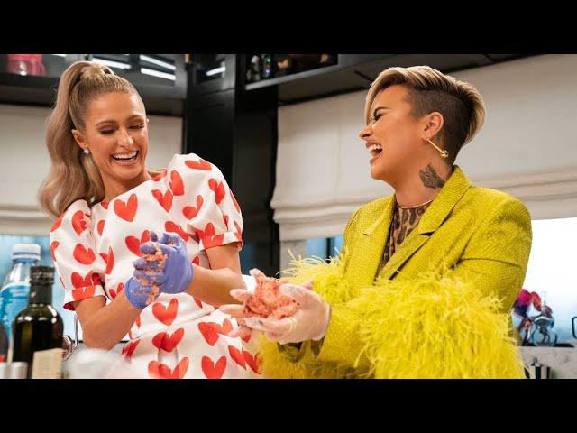 Paris Hilton Sparkles in the Kitchen with Demi Lovato - Netflix's Cooking with Paris
