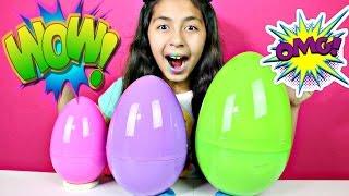 3 giant surprise eggs minecraft shopkins lps minions spongebob sofia the first doc mcstuffins   b2cu