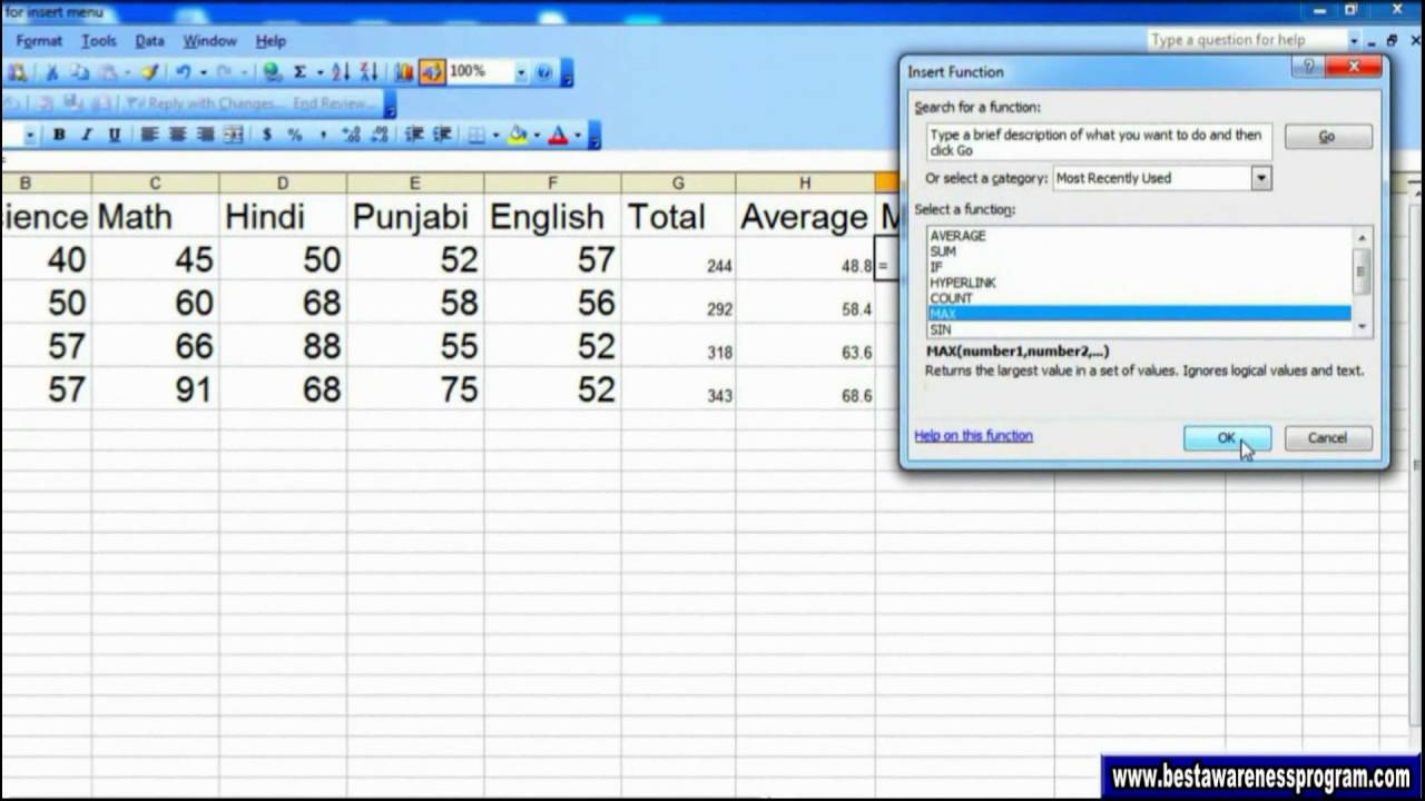 how to make result sheet in ms excel