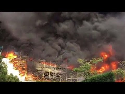 Fire engulfs a distribution center in central Tokyo