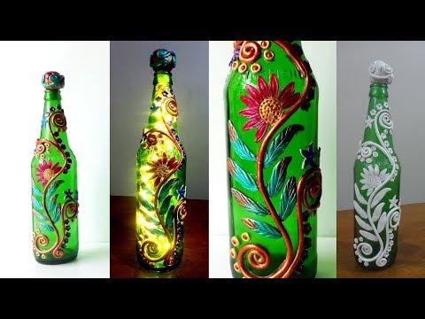 Glass Bottle Craft Idea Using Clay/ Glass Bottle Lamp Ideas