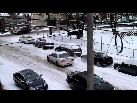 Cars sliding in snow in yonkers, ny