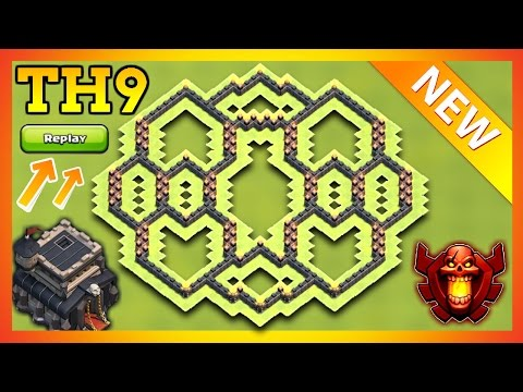 TOWN HALL 9 (TH9) HYBIRD BASE 2017 WITH REPLAYS | TH9 TROPHY / FARMING BASE 2017 | CLASH OF CLANS