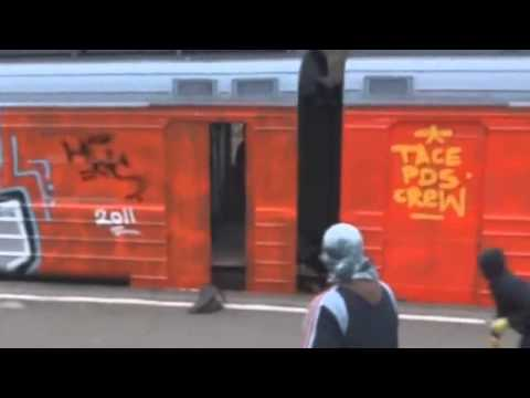 Graffiti Moscow - TacePDS doing some Live Train Bombing Action