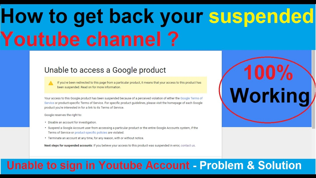 How to get back suspended/disabled/terminated Youtube Channel? 100% Working  Solution with Proof