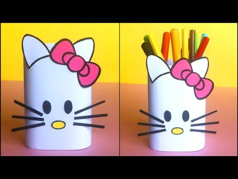 Hello Kitty Pen Stand DIY | How To Make Hello Kitty Pencil Holder / Stationary Organizer