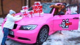 Как дети поделили ПОДАРКИ от YouBox Настя хочет Розовый BMW Сюрприз Бокс для детей