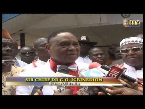 Esama Of Benin Visits Burnt ITV/Studio, Promises To Rebuild Within Sixty Days