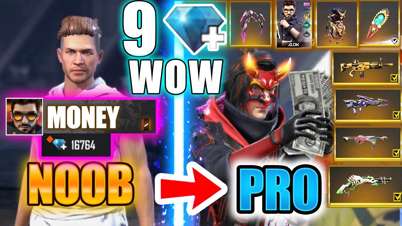 Free Fire new account to *PRO* 9 diamonds only - look how it became😱🔥