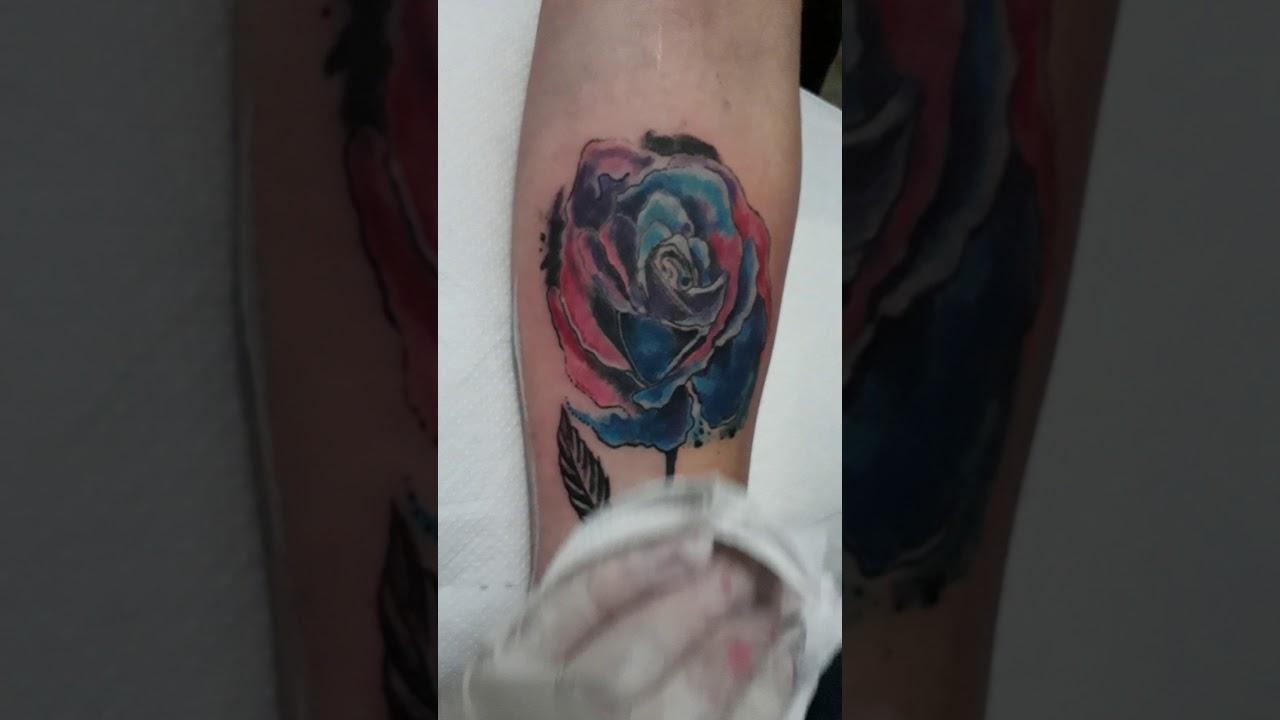 Tatuaje De Rosa En Acuarela Youtube