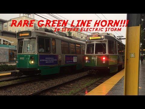SUPER FRIENDLY MBTA GREEN LINE DRIVER HORN SHOW IN SEVERE THUNDERSTORM