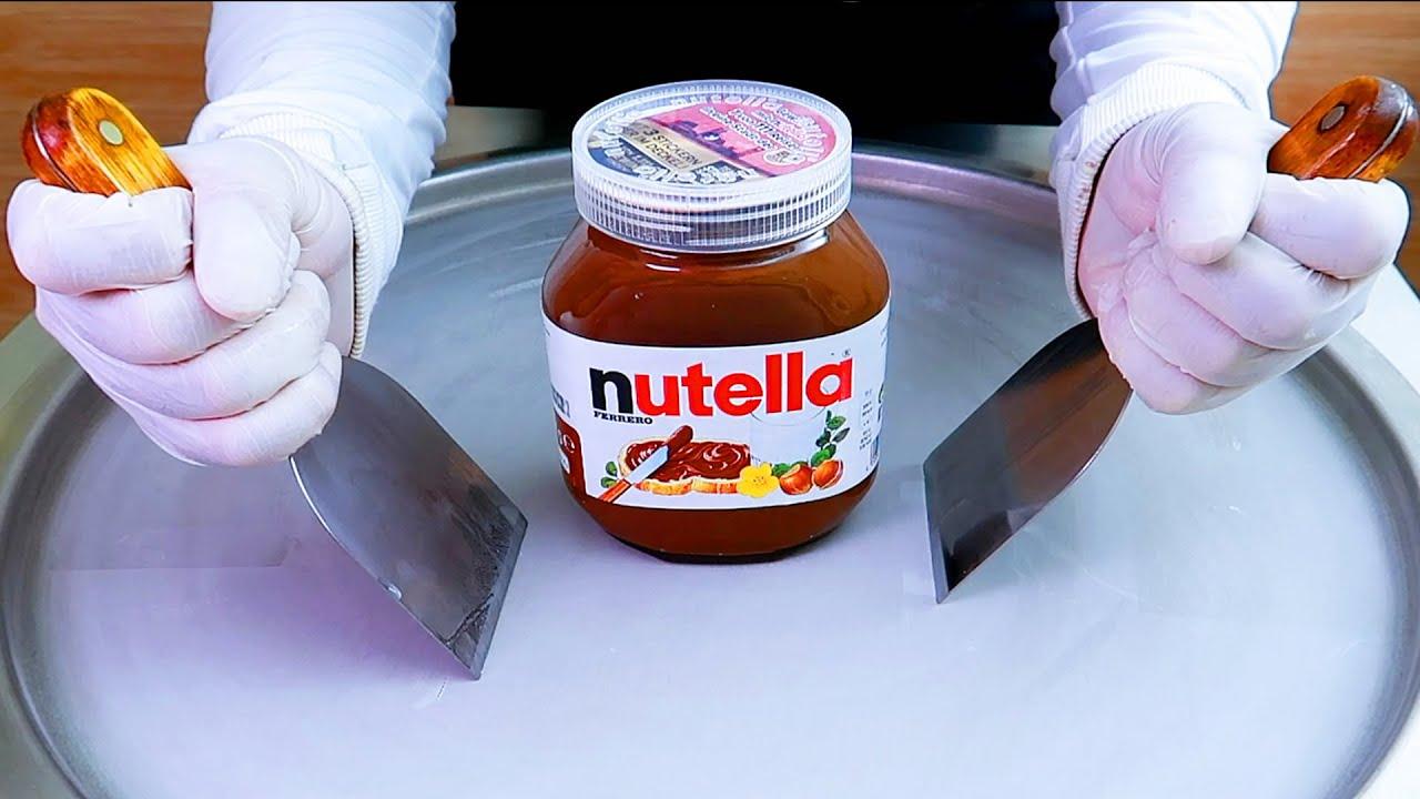 Nutella germany ice cream rolls street food - ايسكريم رول على الصاج نوتيلا الماني