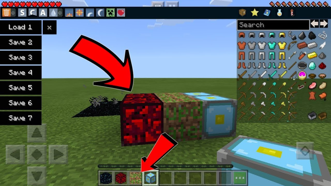 (Too Many Items Mod) Minecraft PE 1 9+ INVENTORY EDITOR (How To Get Secret  Blocks)