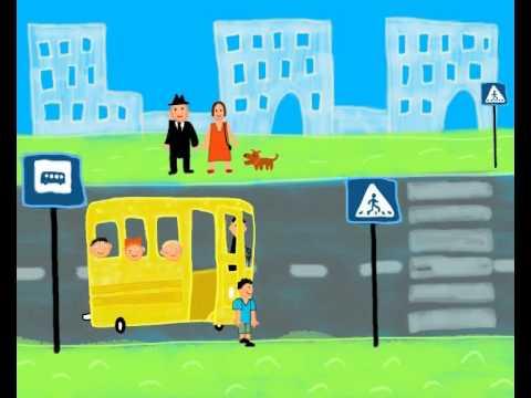 Автобусная остановка.ПДД.Правила Для Детей