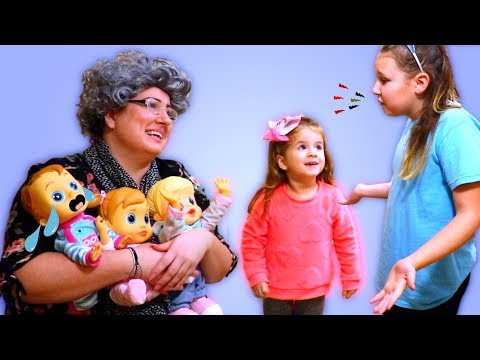 Ruby & Bonnie take care of Baby Wow Dolls at Granny's Nursery