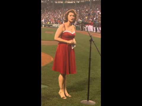 Jack Donahue and Kerry O''Malley sing the US and Canadian National Anthems at Fenway Park