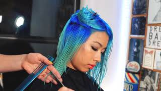 Electric blue cut & color collaboration by BEX