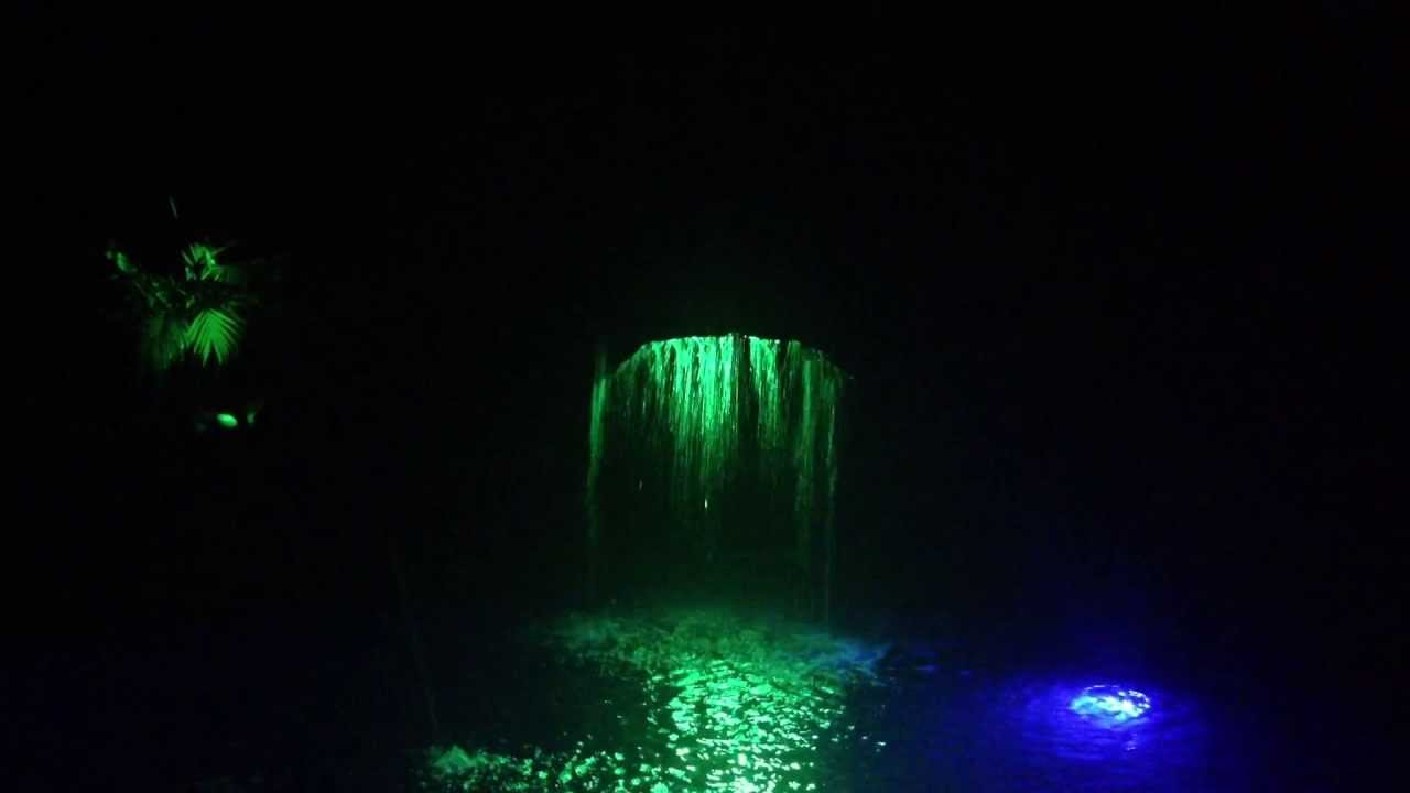 pool waterfall lighting. pool waterfall by light me up color changing landscape lighting youtube