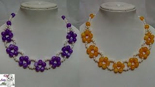 #90 How to Make Pearl  Beaded Necklace || Diy || Jewellery Making