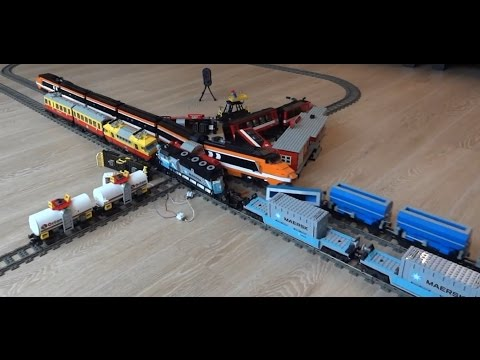 Enormous 6 Lego train crash with Horizon Express, Maersk, 7755, 7740, 7745, 3677 video
