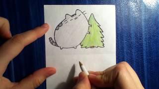 Как нарисовать кота Пушина с ёлочкой?)))