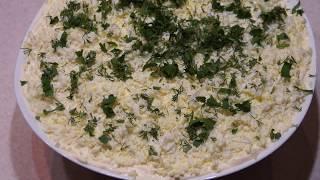 Салат мимоза с запеченной горбушей