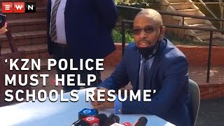 KZN Education MEC Kwazi Mshengu addressed the media as schools reopened for matrics and grade sevens on Monday. He called on police to maintain law and order after unrest in certain parts of the province.