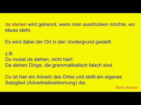 DfM 9.1 Deutsch/ Getrennt- und Zusammenschreibung/ Verb + Präp./+ Adverb