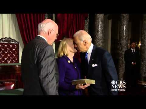 Biden swears in Leahy as Senate
