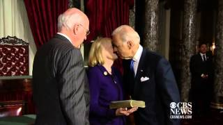 Biden swears in Leahy as Senate