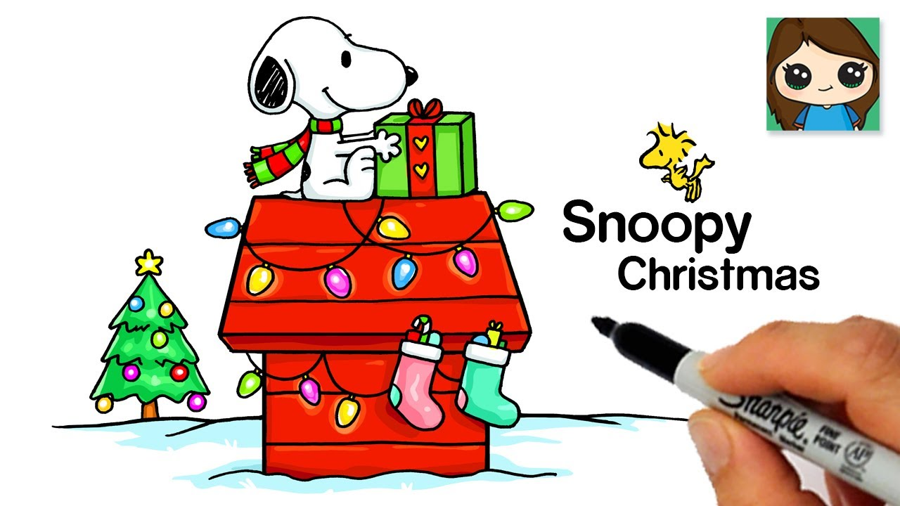 How To Draw Snoopy Christmas Charlie Brown Youtube