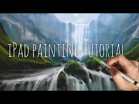 iPad painting tutorial - HOW TO PAINT A WATERFALL LANDSCAPE - Procreate art app using Apple Pencil