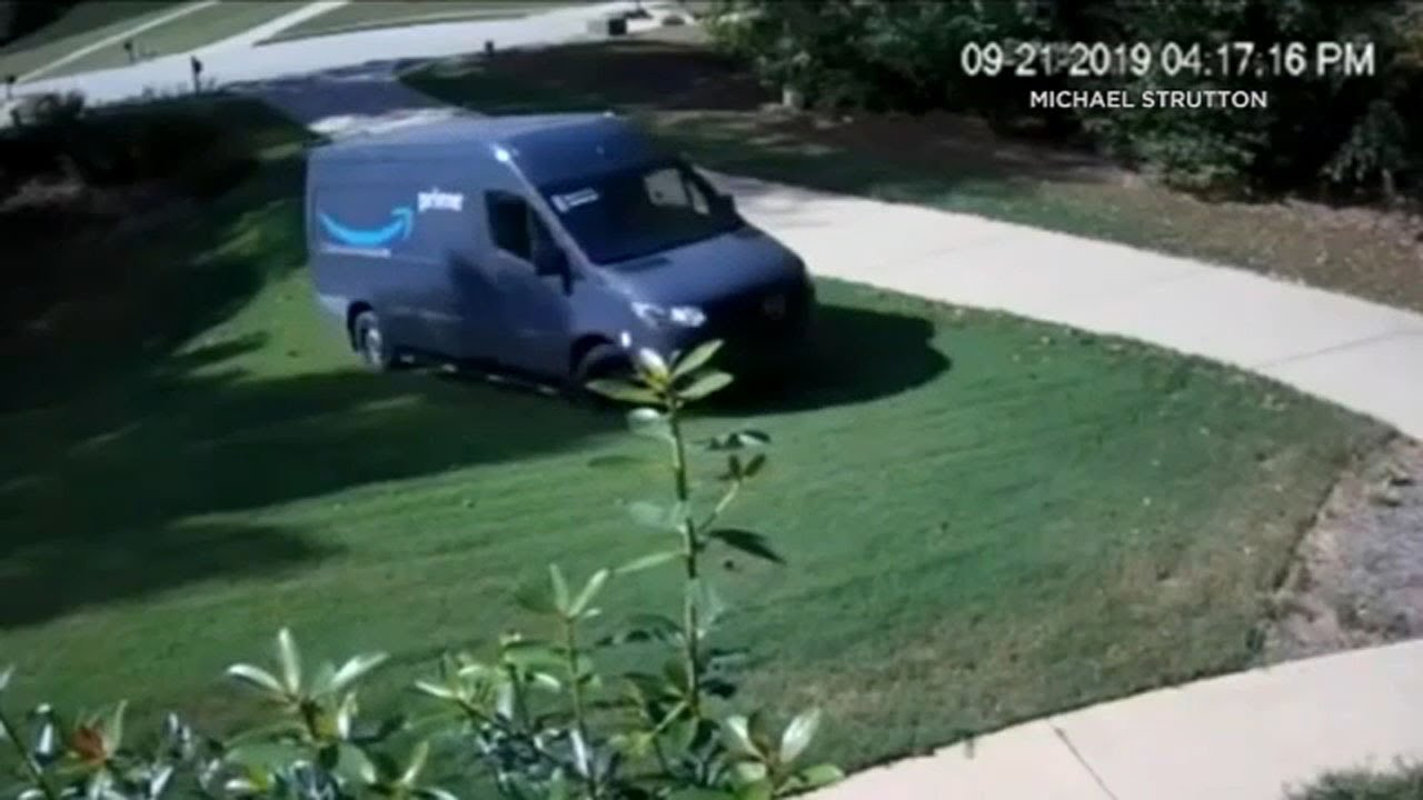 Amazon delivery van caught on camera driving on Georgia homeowner's lawn | ABC7