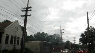 Telephone pole on fire