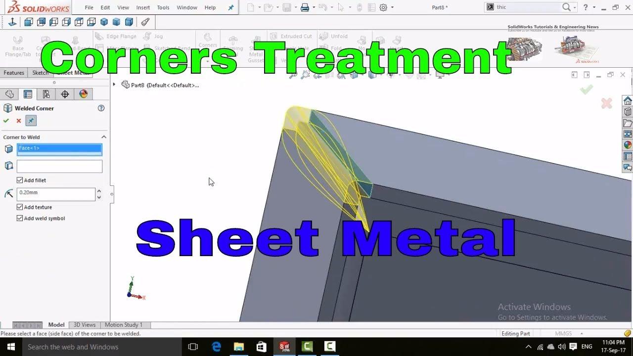 Solidworks Tutorial Corner Treatment Sheet Metal Tutorial