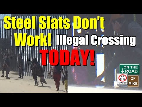 Illegal Border Crossing at San Diego Sea Wall, Steel Slats don