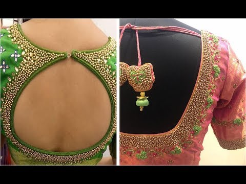 Bead Embroidery Work Blouse Designs For Farewell | BeadWork Embroidery Designs | bead work in aari