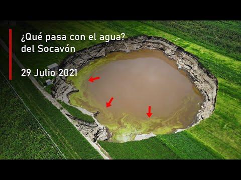 Baja nivel del agua y cambia de color Socavón Puebla Hoy 29 Julio 2021