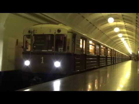 Special Heritage Moscow Metro 1930s Retro Train Replica at Кра́сные воро́та
